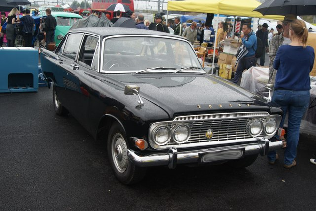 View of a Ford Zephyr Zodiac Mark III in the Classic Car Boot Sale