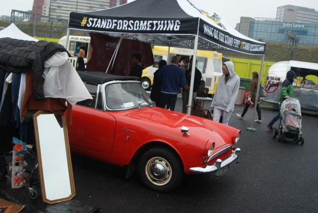 View of a Sunbeam Alpine in the Classic Car Boot Sale
