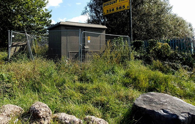 Fenced off electricity substation near the A48 / A4042 junction in Newport