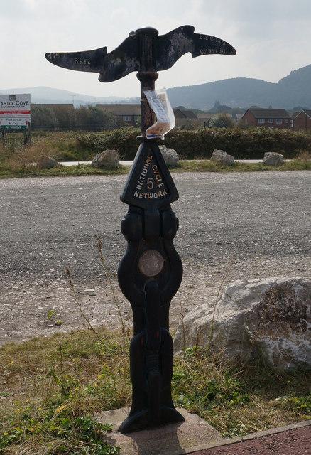 National Cycle Marker Post at Pensarn