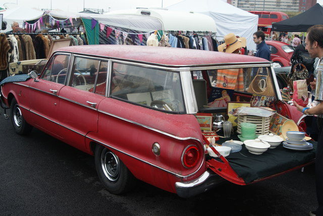 View of a car with its boot open in the Classic Car Boot Sale