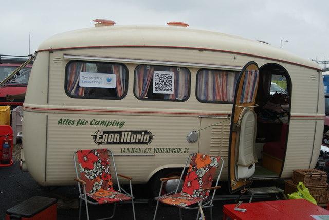View of a German caravan in the Classic Car Boot Sale