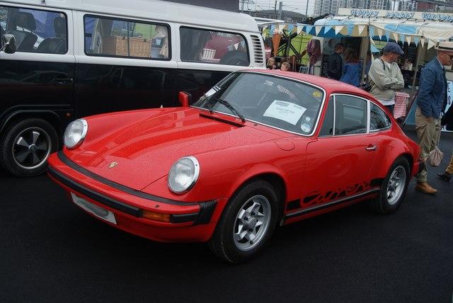 View of a Porsche 911E in the Classic Car Boot Sale