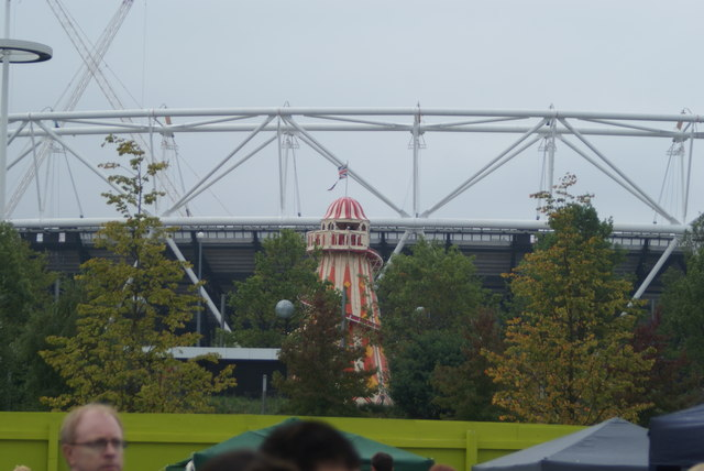 View of the helter-skelter in Queen Elizabeth Olympic Park from the Classic Car Boot Sale