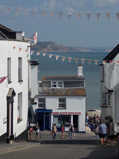 Lyme Regis: a coastal view down Broad Street