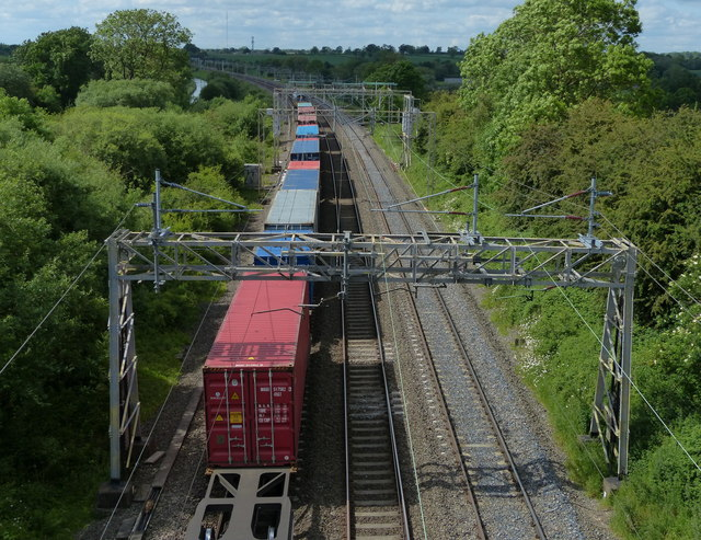 Freight train on the West Coast Main Line