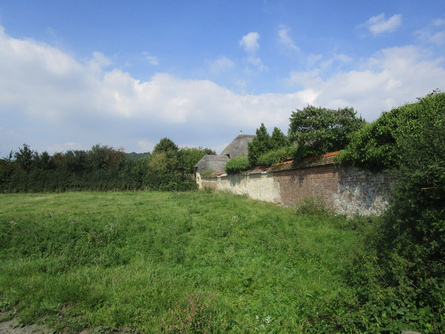 Garden wall and thatched cottage near Affpuddle
