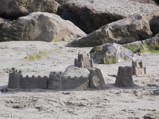 Lyme Regis: close-up of a sandcastle