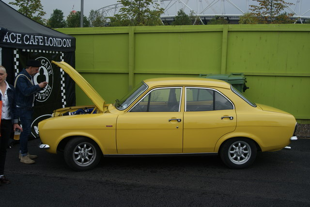 View of a Ford Escort Mark I in the Classic Car Boot Sale