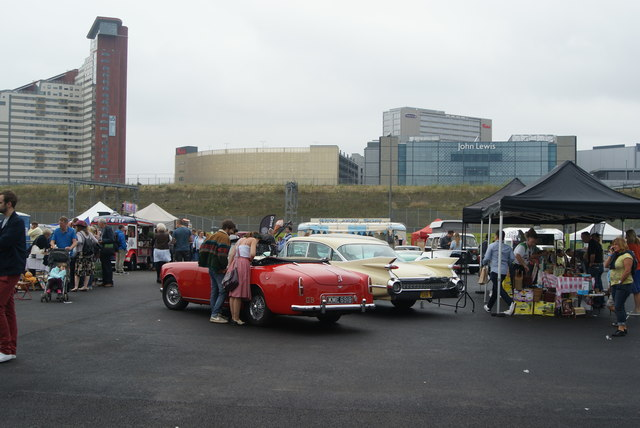 View of the Alvis and American dream cars in the Classic Car Boot Sale