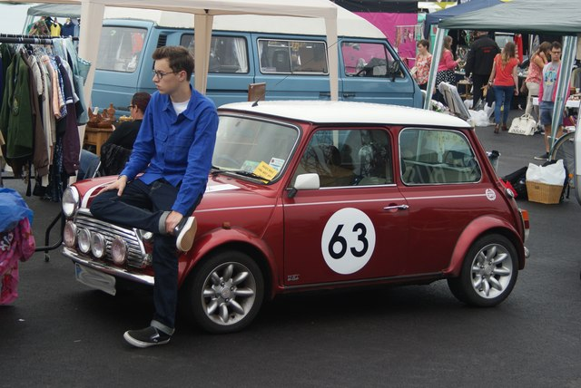 View of a racing Mini in the Classic Car Boot Sale