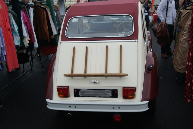 View of the rear of the Citroen 2CV in the Classic Car Boot Sale
