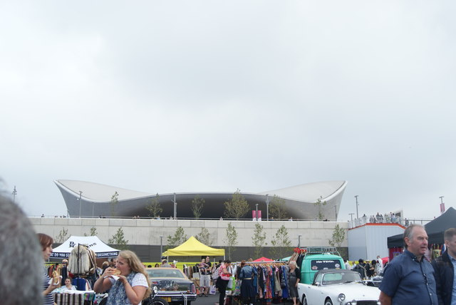View of the Aquatics Centre from the Classic Car Boot Sale #3