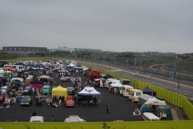 View over the Classic Car Boot Sale from the walkway into the Olympic Park
