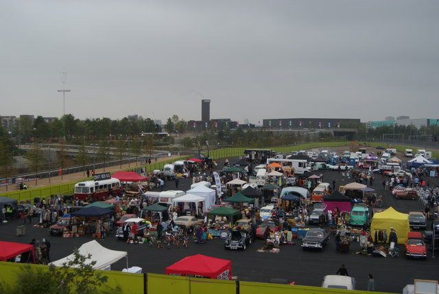 View over the Classic Car Boot Sale from the walkway into the Olympic Park #2