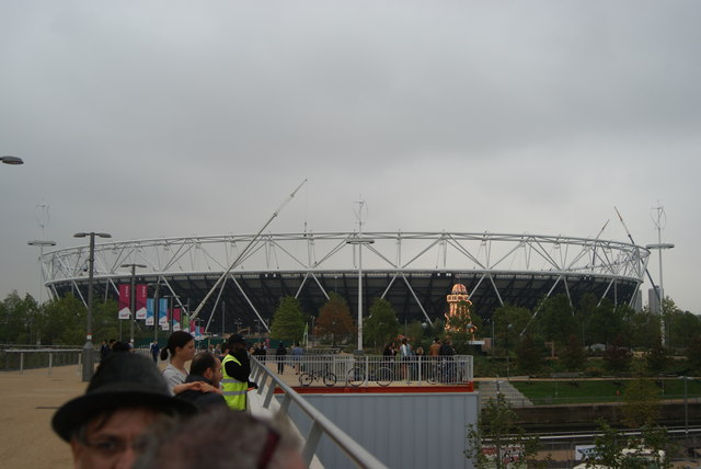 View of the Olympic Stadium from the walkway into the Olympic Park