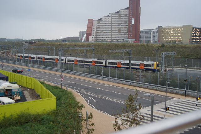 View of a London Overground train heading for Stratford from the walkway into the Olympic Park