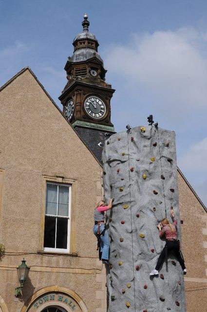 Climbing wall and clock tower