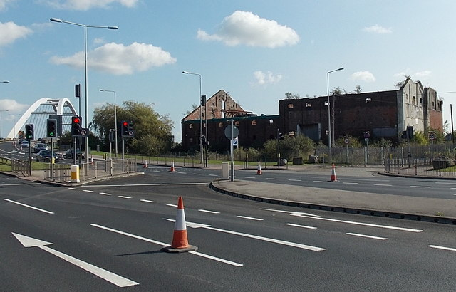 City Bridge and the remains of the  Grade II listed Malt House, Newport