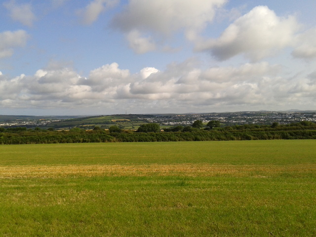 Field with Bodmin in the far distance