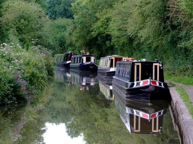 Moored narrowboats at Wilmcote, Warwickshire