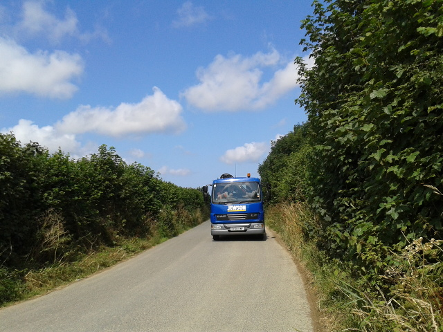 Lorry on a lane near Burlawn