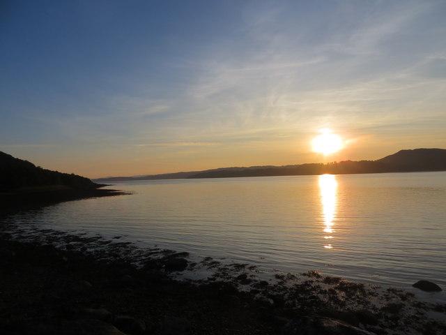 Sunset on the shoreline of Loch Fyne
