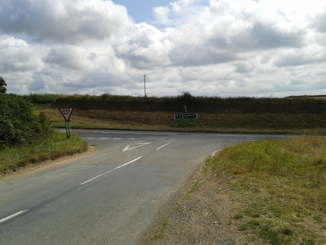 Junction with the A39 at Three Hole Cross