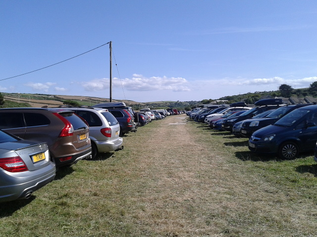 Parking in a field at Perranporth