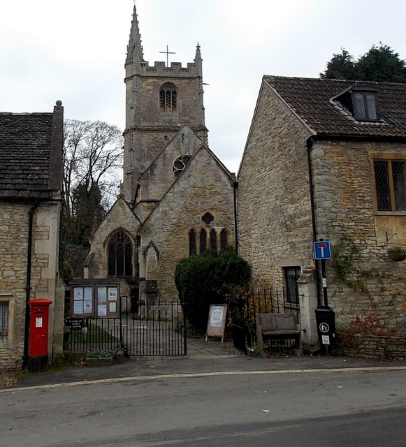 Eastern entrance to St Andrew's Church in Castle Combe