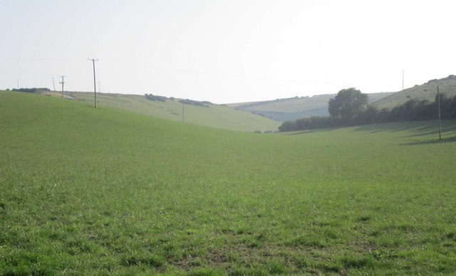 View into a dry valley near West Chaldon