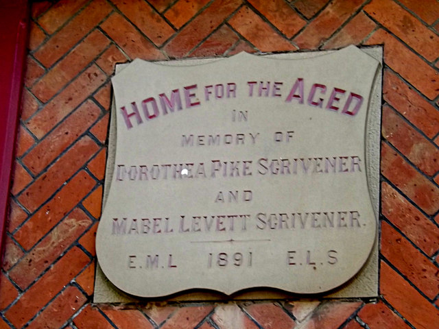 Plaque on the Peasenhall Armshouses