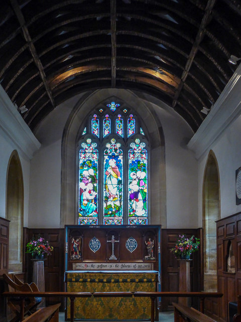 Altar and Stained Glass Window, St Michael's Church, Stinsford, Dorset
