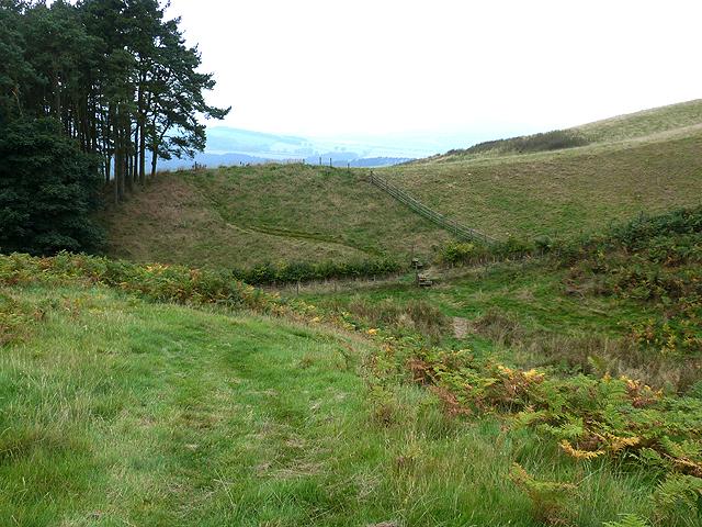 Border Abbeys Way above Blacklaw Strip
