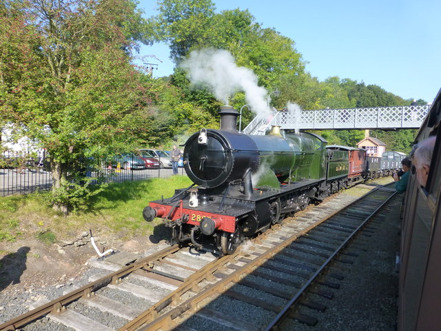 Ex GWR locomotive on a freight train at Highley Station