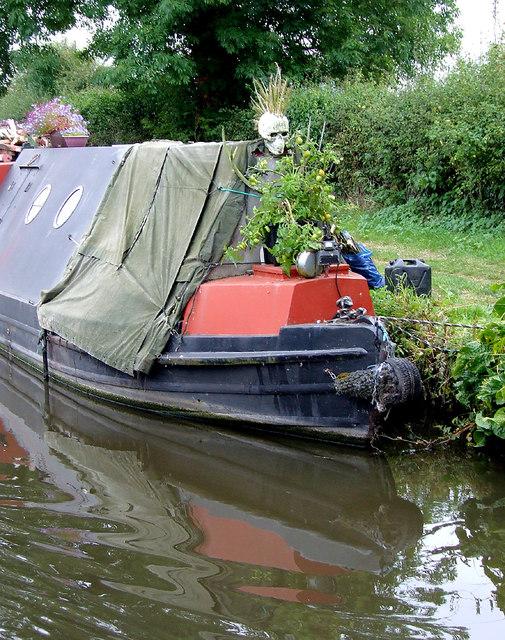 Moored narrowboat near Stafford
