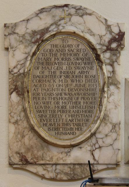 St John the Evangelist, Stratheden Road, Blackheath - Wall monument