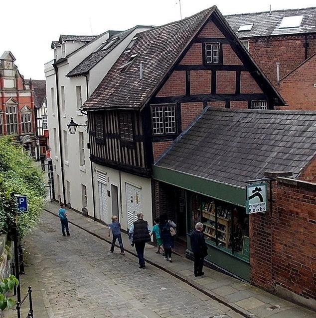 Bookshop window shopping in Fish Street, Shrewsbury