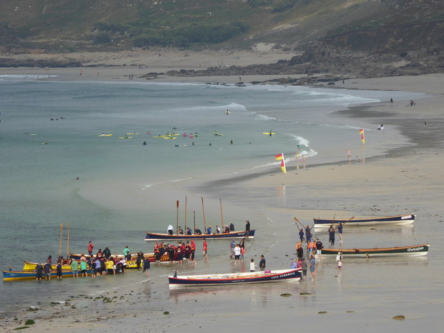 Pilot gigs on the beach at Sennen Cove