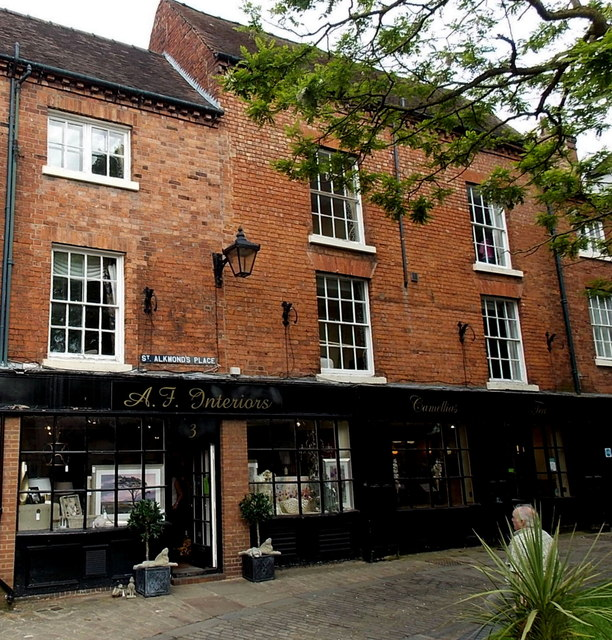Black fronted shops in St Alkmond's Place, Shrewsbury