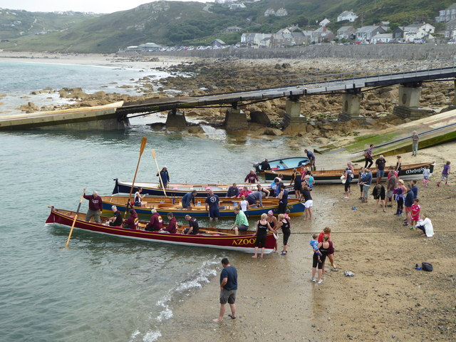 Pilot gigs in Sennen Cove harbour