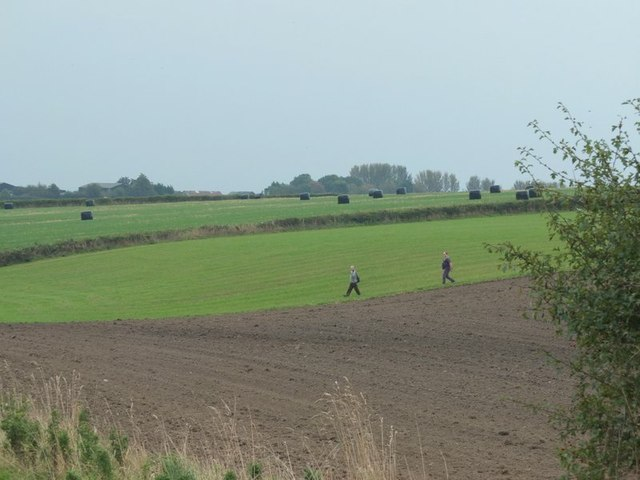 Walkers on footpath near Maddox farm, Billinge