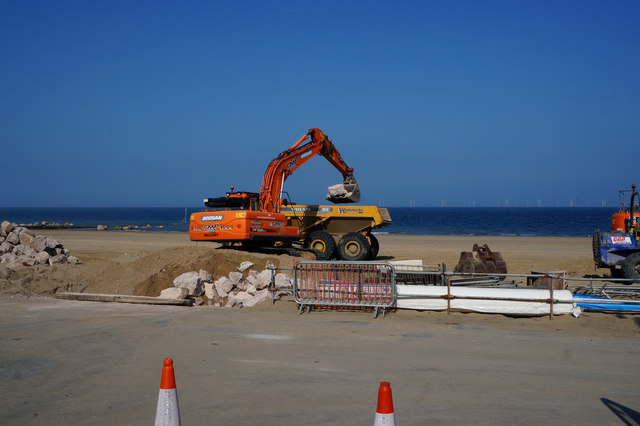 Sea defence work at Colwyn Bay