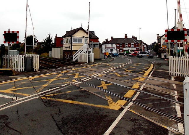 Gobowen level crossing and signalbox