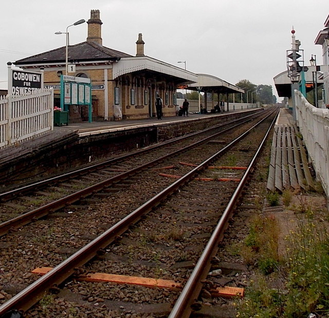 Gobowen railway station from the level crossing