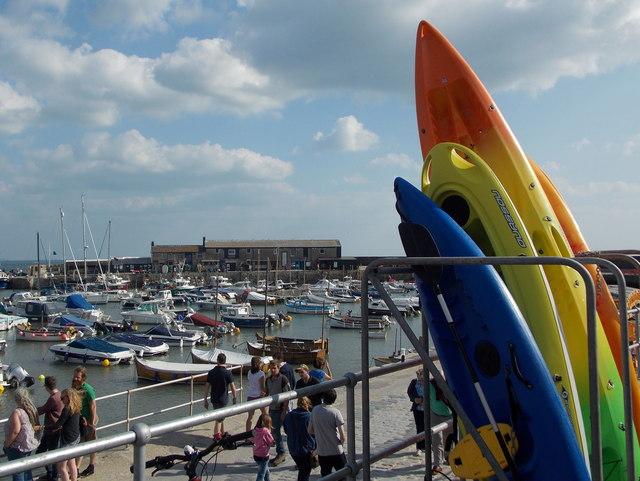 Lyme Regis: kayaks by The Cobb