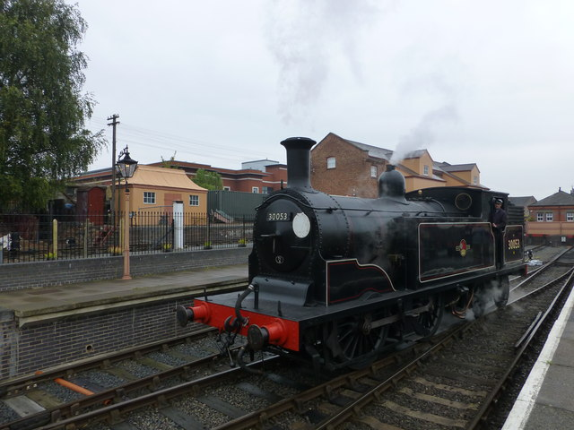 Locomotive running around its train at Kidderminster Station