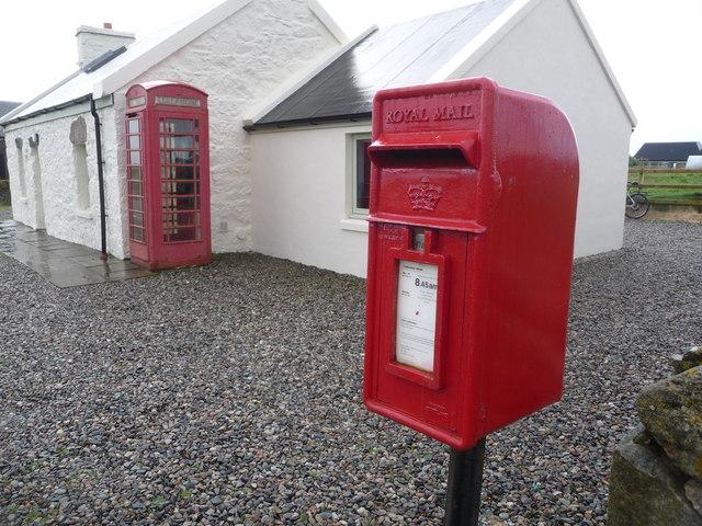 Baugh: postbox № PA77 103 and phone box