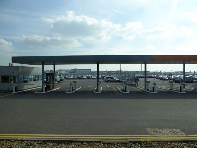 Car park barriers on Northern Perimeter Road West at Heathrow