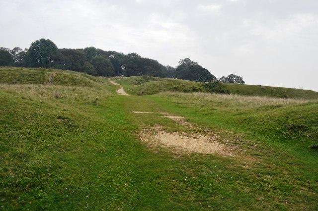 Passing through the outer ring at Badbury Rings